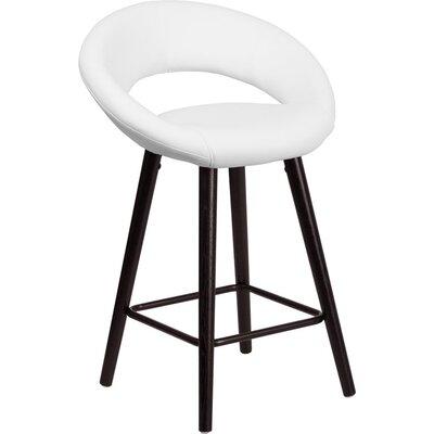 Whelan Rounded Low Back Adjustable Height Swivel Bar Stool Upholstery: White