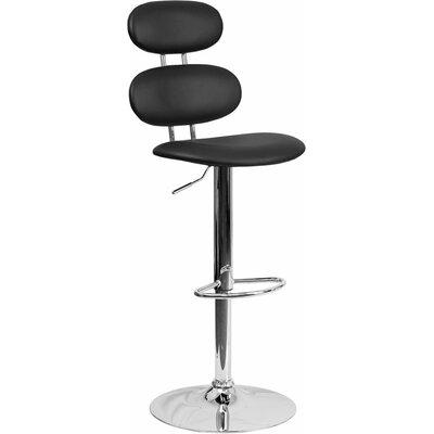 Whelan Mid Back Adjustable Height Swivel Bar Stool Upholstery: Black