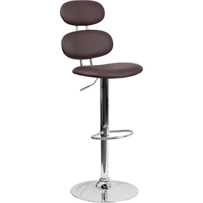 Whelan Mid Back Adjustable Height Swivel Bar Stool Upholstery: Brown