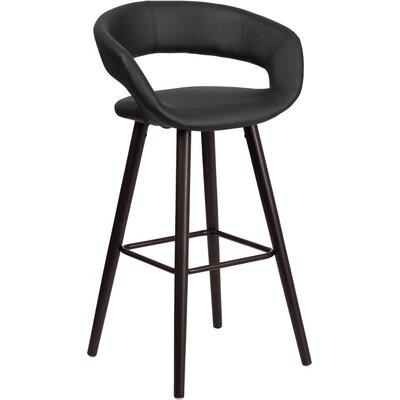 Whelan Rounded Low Back Swivel Bar Stool Upholstery: Black