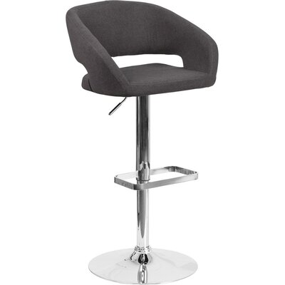 Whelan Rounded Mid Back Adjustable Height Swivel Bar Stool Upholstery: Charcoal