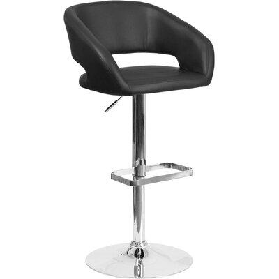 Whelan Rounded Mid Back Adjustable Height Swivel Bar Stool Upholstery: Black