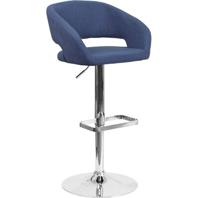 Whelan Rounded Mid Back Adjustable Height Swivel Bar Stool Upholstery: Blue