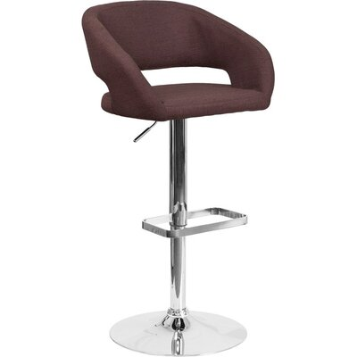 Whelan Rounded Mid Back Adjustable Height Swivel Bar Stool Upholstery: Light Brown