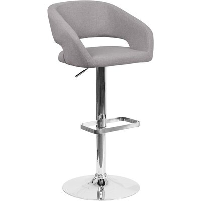 Whelan Rounded Mid Back Adjustable Height Swivel Bar Stool Upholstery: Light Gray
