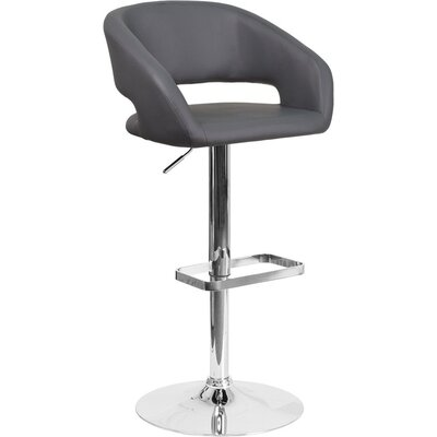 Whelan Rounded Mid Back Adjustable Height Swivel Bar Stool Upholstery: Gray