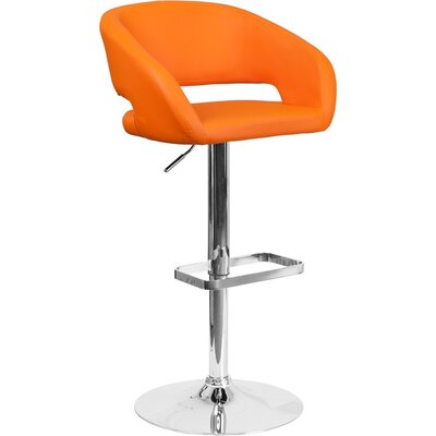 Whelan Rounded Mid Back Adjustable Height Swivel Bar Stool Upholstery: Orange