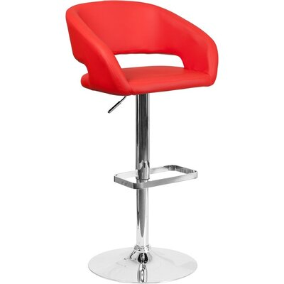 Whelan Rounded Mid Back Adjustable Height Swivel Bar Stool Upholstery: Red