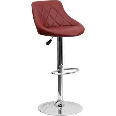 Whelan Low Back Bucket Adjustable Height Swivel Bar Stool Upholstery: Burgundy