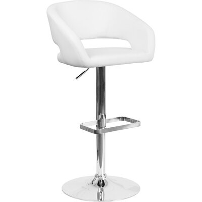 Whelan Rounded Mid Back Adjustable Height Swivel Bar Stool Upholstery: White