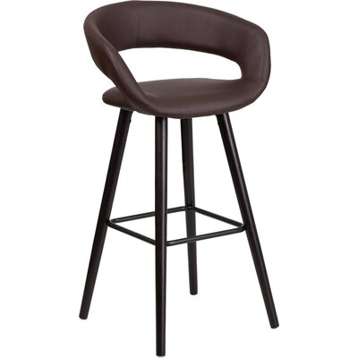 Whelan Rounded Low Back Swivel Bar Stool Upholstery: Brown