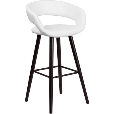 Whelan Rounded Low Back Swivel Bar Stool Upholstery: White