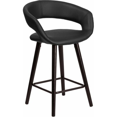 Whelan Rounded Low Back Swivel Bar Stool Upholstery: Black