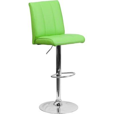 Whelan Mid Back Adjustable Height Swivel Bar Stool Upholstery: Green