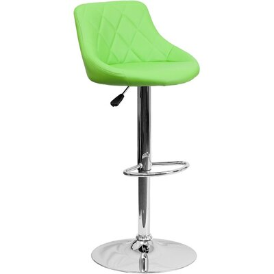 Whelan Low Back Bucket Adjustable Height Swivel Bar Stool Upholstery: Green