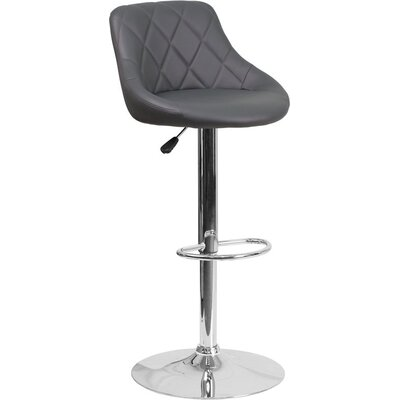 Whelan Low Back Bucket Adjustable Height Swivel Bar Stool Upholstery: Gray