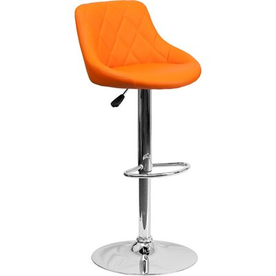 Whelan Low Back Bucket Adjustable Height Swivel Bar Stool Upholstery: Orange