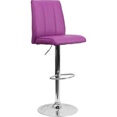 Whelan Mid Back Adjustable Height Swivel Bar Stool Upholstery: Purple