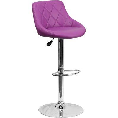 Whelan Low Back Bucket Adjustable Height Swivel Bar Stool Upholstery: Purple