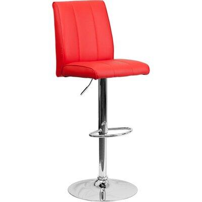 Whelan Mid Back Adjustable Height Swivel Bar Stool Upholstery: Red