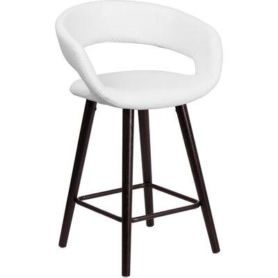 Whelan Rounded Low Back Swivel Bar Stool Upholstery: White