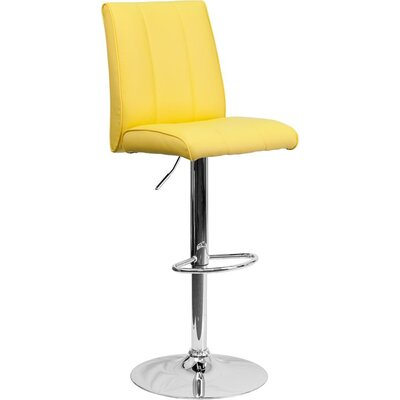 Whelan Mid Back Adjustable Height Swivel Bar Stool Upholstery: Yellow