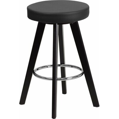 Outen Backless 24 Swivel Bar Stool Upholstery: Black