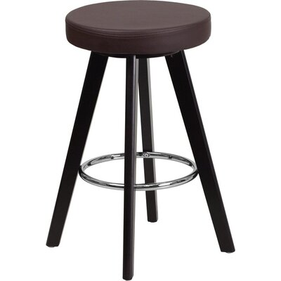Outen Backless 24 Swivel Bar Stool Upholstery: Brown