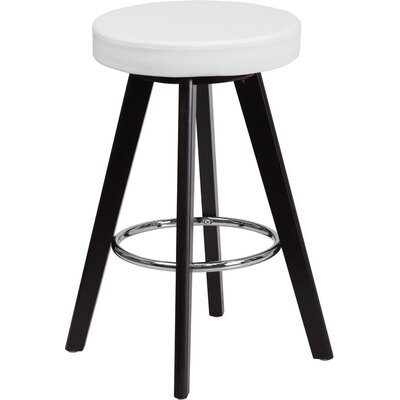Outen Backless 24 Swivel Bar Stool Upholstery: White