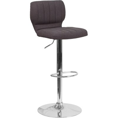 Whelan Low Back Adjustable Height Swivel Bar Stool Upholstery: Charcoal