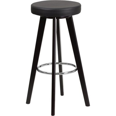 Outen Backless 30 Swivel Bar Stool Upholstery: Black