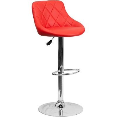 Whelan Low Back Bucket Adjustable Height Swivel Bar Stool Upholstery: Red