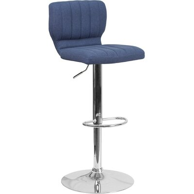 Whelan Low Back Adjustable Height Swivel Bar Stool Upholstery: Blue