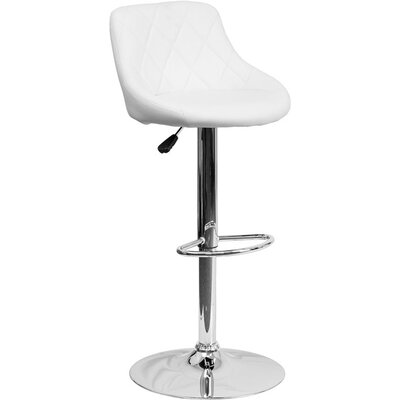 Whelan Low Back Bucket Adjustable Height Swivel Bar Stool Upholstery: White