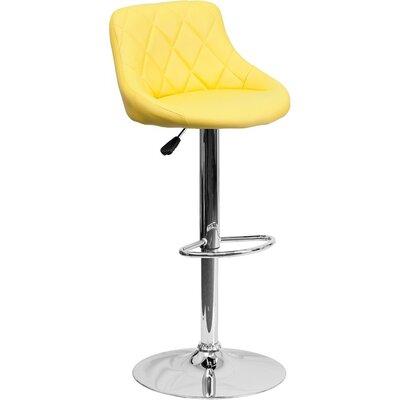 Whelan Low Back Bucket Adjustable Height Swivel Bar Stool Upholstery: Yellow