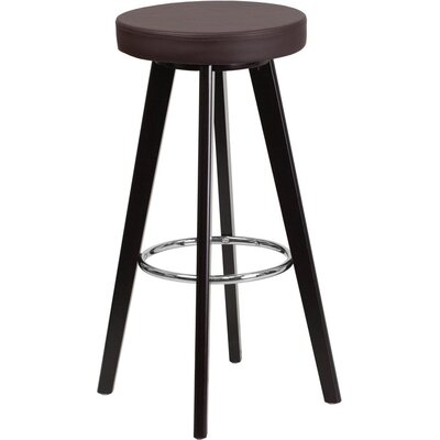 Outen Backless 30 Swivel Bar Stool Upholstery: Brown