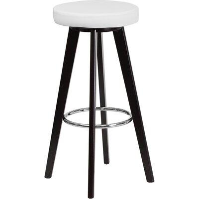 Outen Backless 30 Swivel Bar Stool Upholstery: White