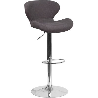 Whelan Mid Back Adjustable Height Swivel Bar Stool Upholstery: Charcoal