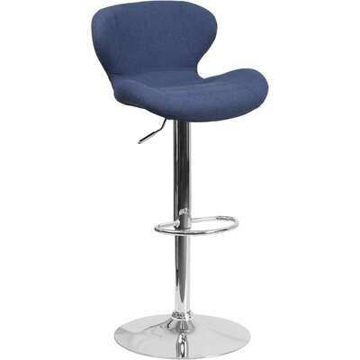 Whelan Mid Back Adjustable Height Swivel Bar Stool Upholstery: Blue