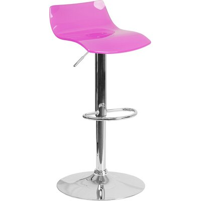 Outen Low Back Adjustable Height Swivel Bar Stool Color: Clear Hot Pink