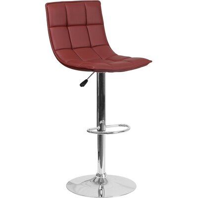 Whelan Mid Back Curved Quilted Adjustable Height Swivel Bar Stool Upholstery: Burgundy
