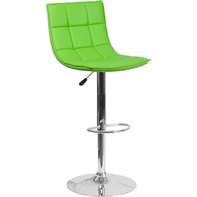 Whelan Mid Back Curved Quilted Adjustable Height Swivel Bar Stool Upholstery: Green