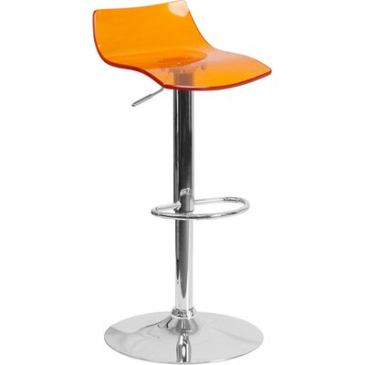 Outen Low Back Adjustable Height Swivel Bar Stool Color: Orange