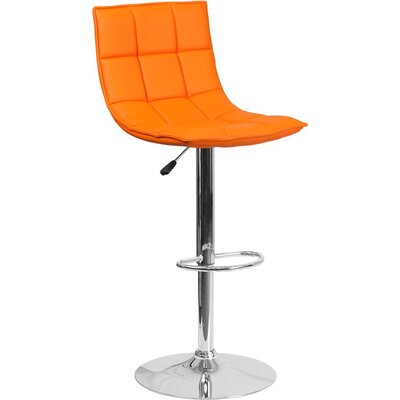 Whelan Mid Back Curved Quilted Adjustable Height Swivel Bar Stool Upholstery: Orange