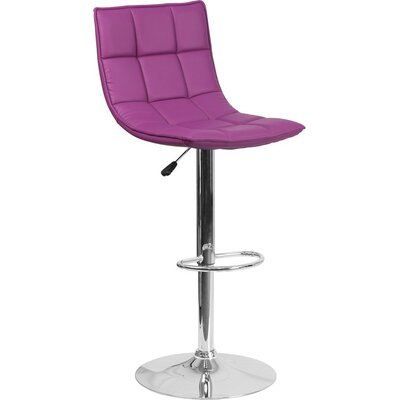 Whelan Mid Back Curved Quilted Adjustable Height Swivel Bar Stool Upholstery: Purple