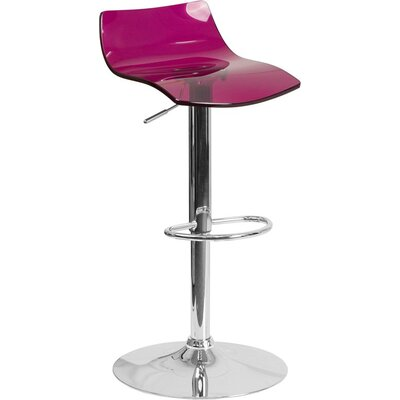 Outen Low Back Adjustable Height Swivel Bar Stool Color: Purple
