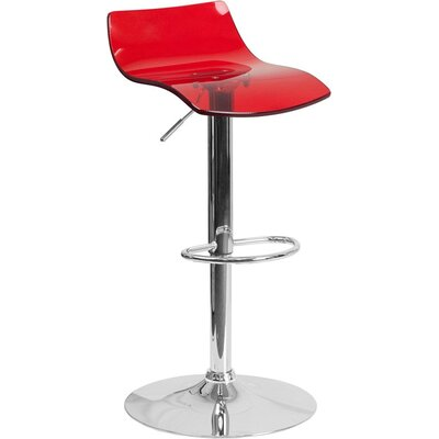 Outen Low Back Adjustable Height Swivel Bar Stool Color: Red