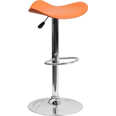 Whelan Backless Adjustable Height Swivel Bar Stool Upholstery: Orange