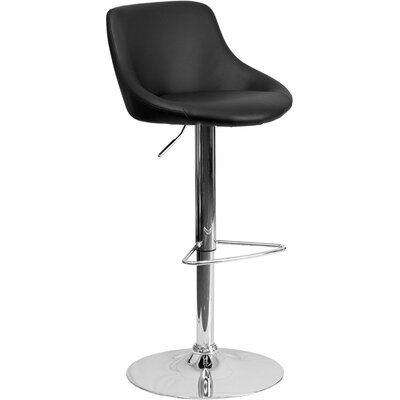 Crotty Low Back Adjustable Height Swivel Bar Stool Upholstery: Black