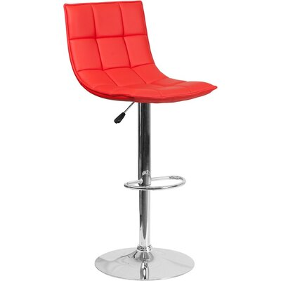 Whelan Mid Back Curved Quilted Adjustable Height Swivel Bar Stool Upholstery: Red